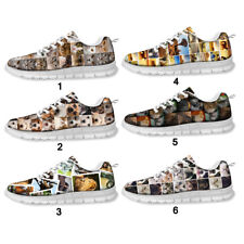 Ladies Sneakers Sport Casual Flat Running Animal Cat Print Shoes FitnessTrainers