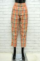 Pantalone Donna BENETTON Taglia 40 Jeans Pants Woman Cotone Vita Alta a Quadri