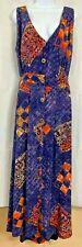 VTG Globe Trotter Batik Dress Size L Button V-Neck Cross Over Open Back Handmade