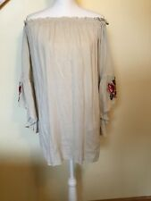 She and Sky Women's Beige Top Shirt Off Shoulder Lined   Size S  Long Sleeve