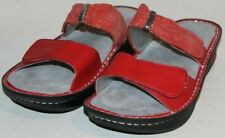"WOMEN SHOES ""ALEGRIA"" MULES  Size EU 42  US 11.5M RED LEATHER NEW"