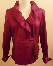 Nipon Boutique 12 Jacket Dressy Long Sleeve Ruffled Neckline Shimmery Deep Pink