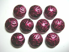 10 Lovely Czech Glass Button Beads 14mm Burgandy Pearl