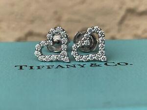 Tiffany & Co. Platinum Diamond Heart Stud Earrings (0.57 TCW)