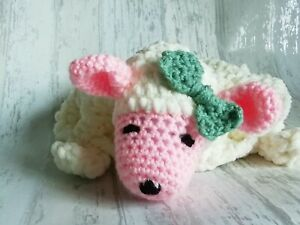 Handmade crochet sheep lovey comforter green bow