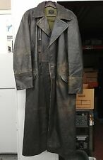 Officer's Field Jacket German grey leather Turncoat size 58 Mil-tec by Sturm