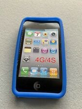 Rubber Gel Case Skin For Iphone 4 4S Soft Flexy Bumper Cover Blue