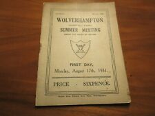 More details for horse racing programme/card : 1931 wolverhampton - summer meeting - august 17th