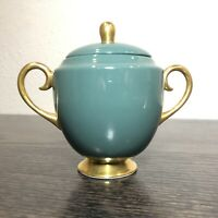 FLINTRIDGE CHINA SYLVAN Teal Green and Gold Trimmed Lidded Sugar Bowl vintage