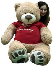Happy Anniversary Giant Teddy Bear Five Foot Soft T-Shirt Says HAPPY ANNIVERSARY