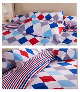 Red Blue White Diamond Nautical Striped Bedding 4pc Queen Duvet Cover Set