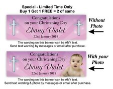 Baptism or Christening Banner, Baby Girls, Girl Purple with Cross, Party Event.