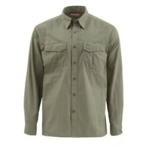 "NEW Simms Fishing Classic ""Transit"" L/S Sport Shirt Size M  Olive Green"