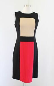 Calvin Klein Black Red Beige Tan Color Block Sheath Dress Size 2 Sleeveless