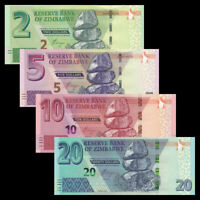 Zimbabwe Set 4 PCS, P101-P104, 2 5 10 20 Dollars, Banknotes, UNC