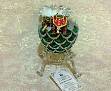 """Faberge Egg Green Pine Cone with Elephant Surprise (4""""). Made in Russia"""