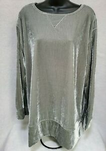 Silhouettes Womens Gray Velor FEEL Shirt Top Blouse Size 1X