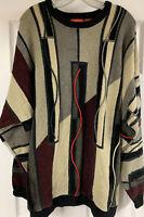Vintage J Simon Multicolored 3D Textured Knit Sweater Coogi Style Men's Size 2XL