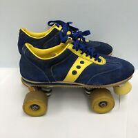 """Vintage Sure-Grip """"JOGGER"""" Roller Skates BLUE/YELLOW Suede Spot-Bilt Mens Size10"""