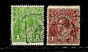HICK GIRL-USED AUSTRALIA STAMP   SC#114-15  1931-36  KING GEORGE V      D963