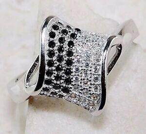 SALE 2CT Black Sapphire & White Topaz 925 Sterling Silver Ring Jewelry Sz 6, M5