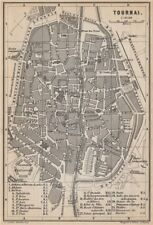 TOURNAI DOORNIK antique town city plan. Belgium carte. BAEDEKER 1897 old map
