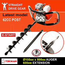 62CC TDKMAN Petrol Post Hole Digger Earth Auger 100mm Drill 600mm Ex Fence Borer