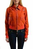 Just Cavalli Women's Orange Suede Leather Full Zip  Jacket US S IT 40