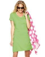 LAT Sportswear Ladies V-Neck Cover Up 3522 Cotton Beach Dress S-2XL Nightshir