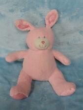 "Animal Alley Plush Pink Bunny Rabbit Satin Ears Feet Stuffed Toy Blue Eyes 12"""