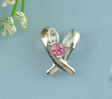 5 SILVER PLATED PINK RHINESTONE AWARENESS RIBBON CHARM PENDANT ~ Necklace  (60C)