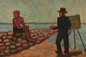 Rolf Diener 1906 - 1988 - Painter And Model An Hafenmole