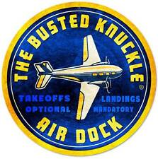 Busted Knuckle Garage Airplane Air Dock Metal Sign Man Cave Shop Club Bus117
