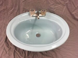 Vtg Oval Stamped Steel Sky Blue Bathroom Drop In SInk Retro Old 505-18P