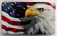 "AMERICAN FLAG, EAGLE, Billet Aluminum Trailer Hitch plug Cover, UV, 3""x5"""