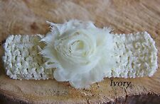 Girl Baby Crochet Elastic Headband Shabby Rose Flower Wedding Christening Party