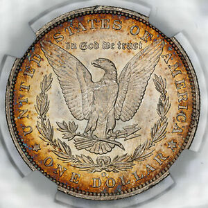 1885-O MORGAN SILVER DOLLAR NGC MS63 GOLD AND BROWN AMAZING CIRCLE TONED COIN