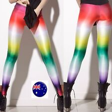 Women Colorful Multicolor Rainbow Costume Skinny Stretch Leggings Pants Jeggings