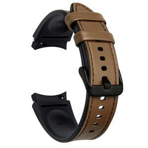 For Samsung Galaxy Watch 4 Classic 42/46mm 40/44mm Leather Silicone Strap Band