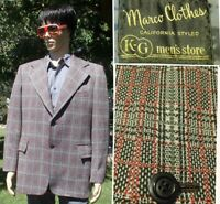 vintage 70's POLYESTER PLAID blazer marco california style kg mens store 46 Long