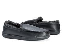 MUK LUKS Men's Moccasin Slipper Size M Black Faux Leather Fur