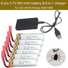 6pc 3.7V 600mAh Battery+JST 6in1 Plug Charger For UDI U818A U817A U817C RC Drone