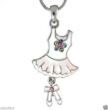 W Swarovski Crystal Ballet White Leotard Pink Tutu Slippers Flower Necklace Gift