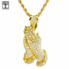 Gold Plated Iced PRAY Hand Pendant 26 inch Heavy Rope Chain Necklace NA 1514 G