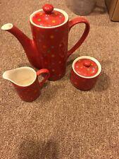 Sugar Bowl Creamer Teapot Set Red Polka Dots Ceramic