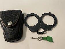 vintage peerless handcuffs w/key and viking basket weave utility belt holster