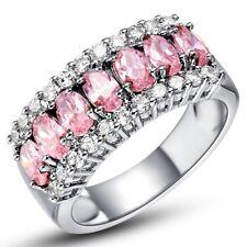 Neue Schöne Damen Ring mit Rosa Zirkonen Gestempelt 925 Gr. 58