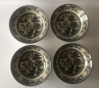 "ROYAL STAFFORD  SET OF 4 BLACK WILLOW  7 5/8"" SOUP/CEREAL BOWLS-NEW"