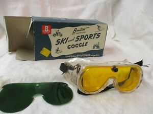 Vintage America Optical Goggles with Bouton Box yellow green lens