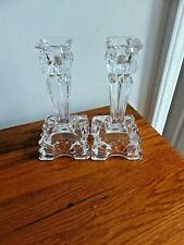 "Pair Art Deco Clear Crystal 5 1/2"" Tall Candlesticks"